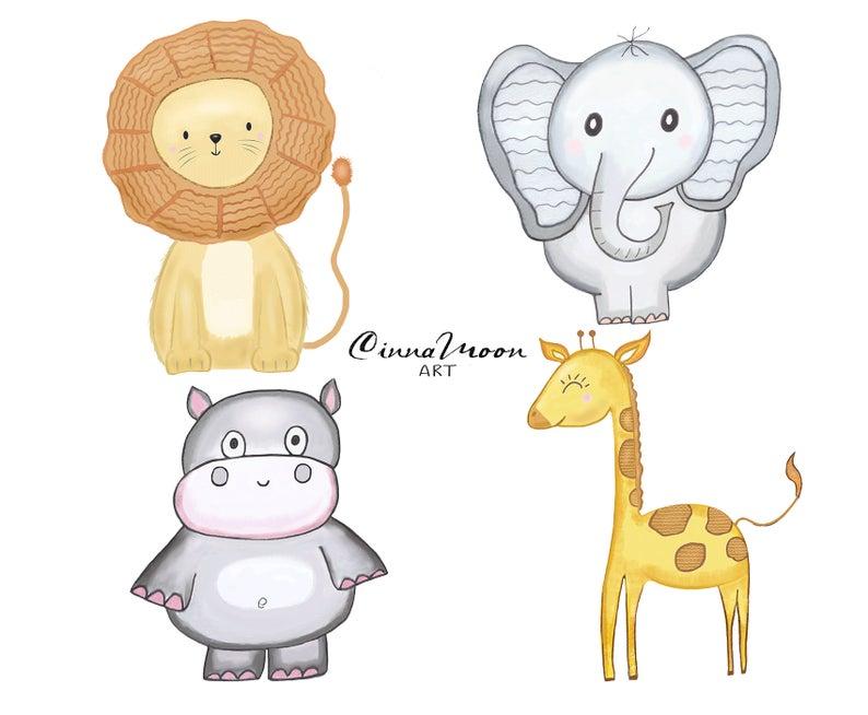 Safari animals hippo giraffe. Clipart elephant lion