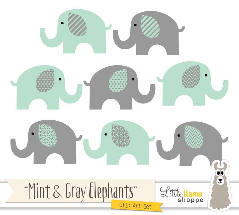 Elephant clipart mint. And grey elephants green
