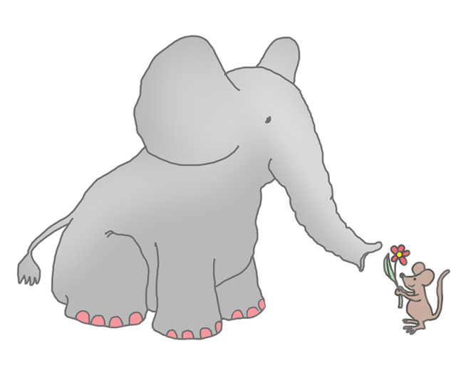 Mouse pencil and in. Elephant clipart mint