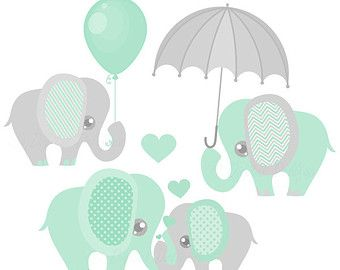 Baby decor printable shower. Elephant clipart mint