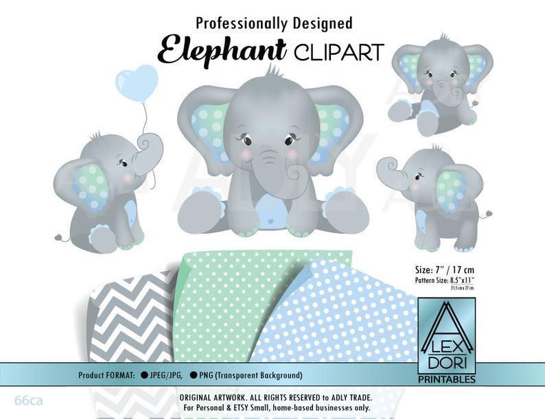 Blue baby peanut clip. Elephant clipart mint
