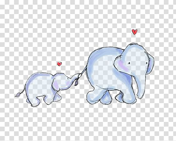 Clipart elephant mother. Infant cartoon baby two