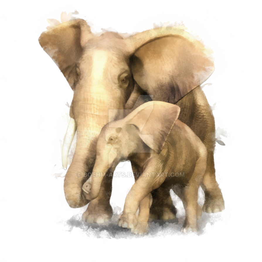 Clipart mom baby elephant. Mother and elephants by