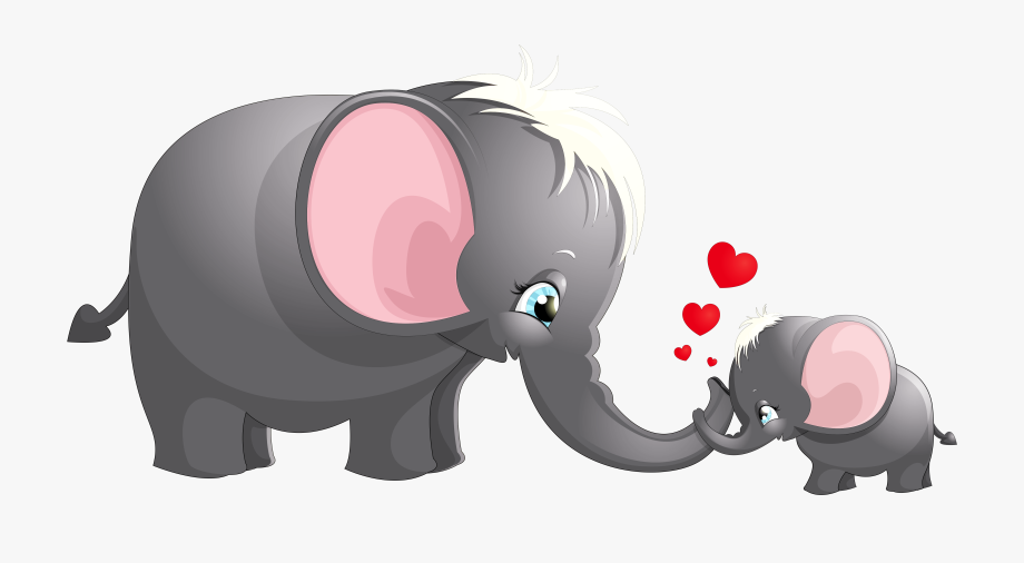 Clipart elephant mother. Transparent cute mom and