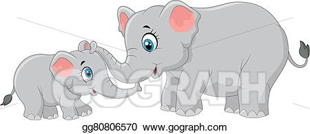Vector cartoon and calf. Clipart elephant mother