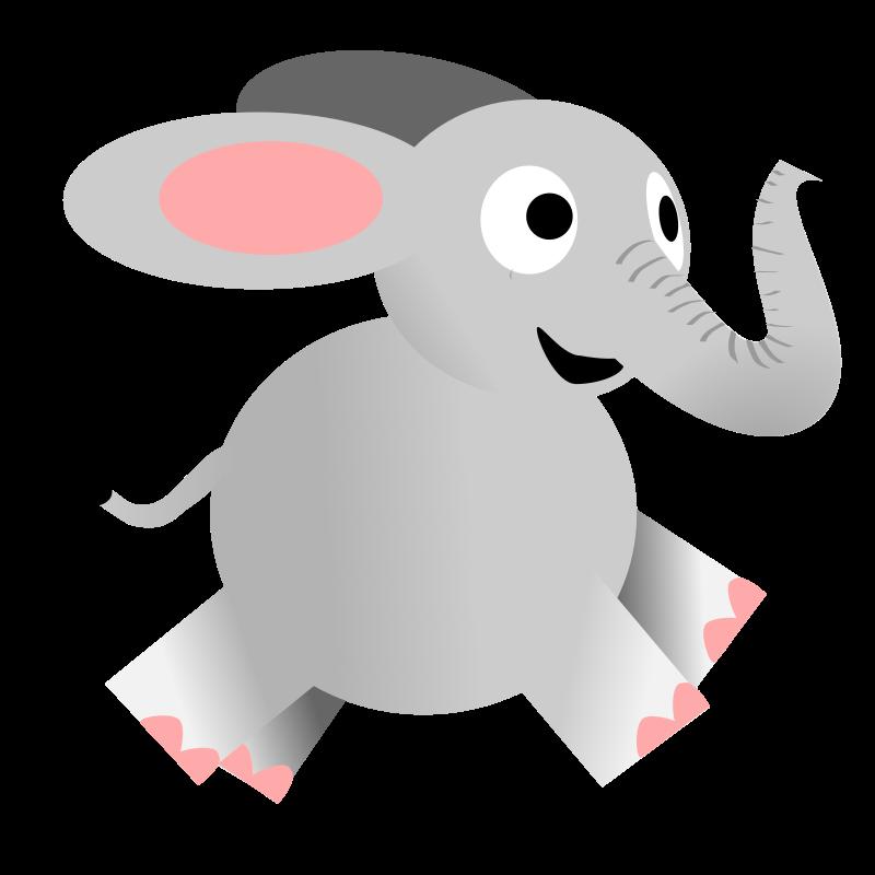 Happy running medium image. Mouse clipart elephant