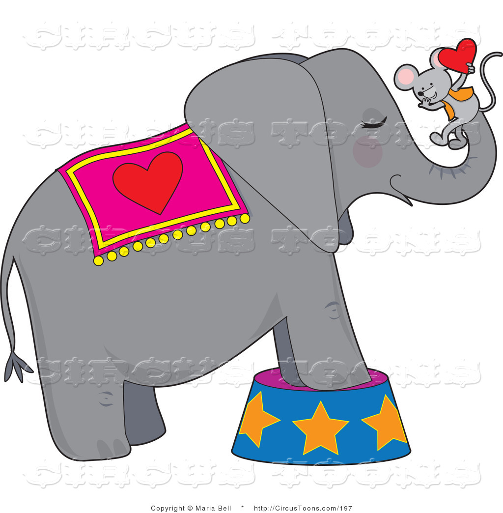 Circus of a gray. Clipart elephant mouse