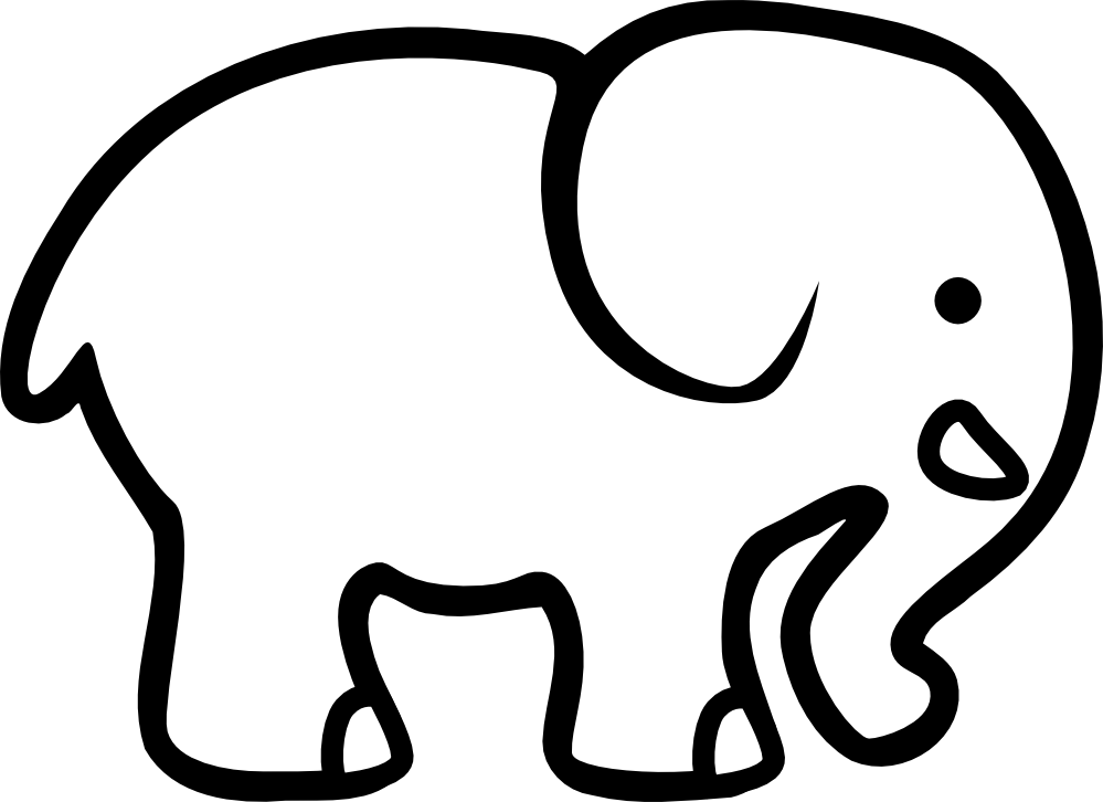 Free simple download clip. Clipart elephant outline