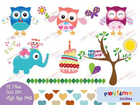 Colorful clip art kids. Clipart elephant owl