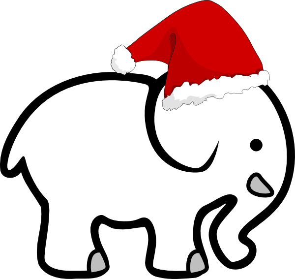 Annual white elephant holiday. Clipart reindeer santa hat