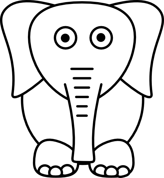 White clip art at. Clipart elephant plain
