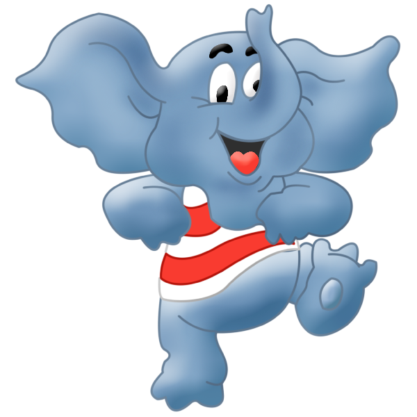 Cute baby elephant cartoon. Stitch clipart cutie