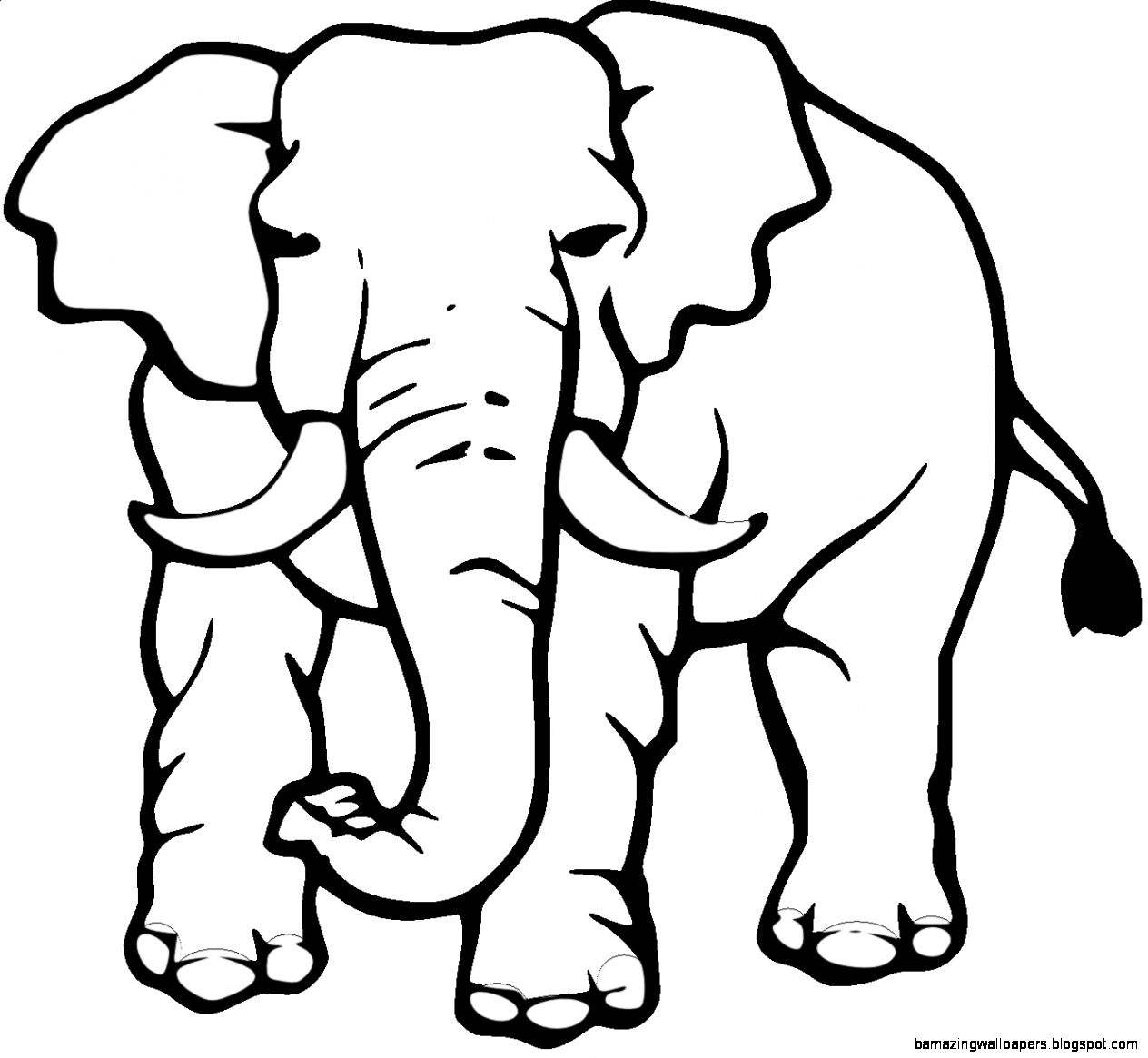 Clipart elephant plain. Of in black and