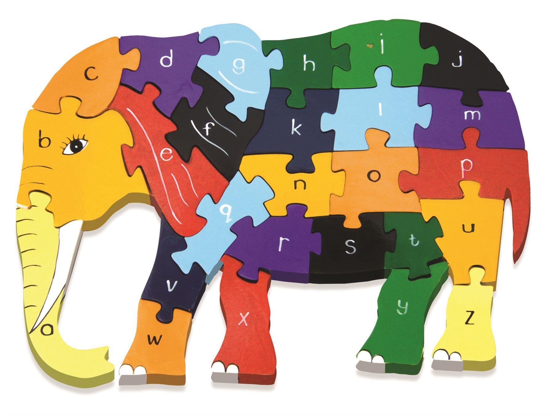 Alphabet jigsaws wooden jigsaw. Clipart elephant puzzle