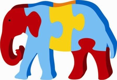Jigsaw kinder creative toys. Elephant clipart puzzle