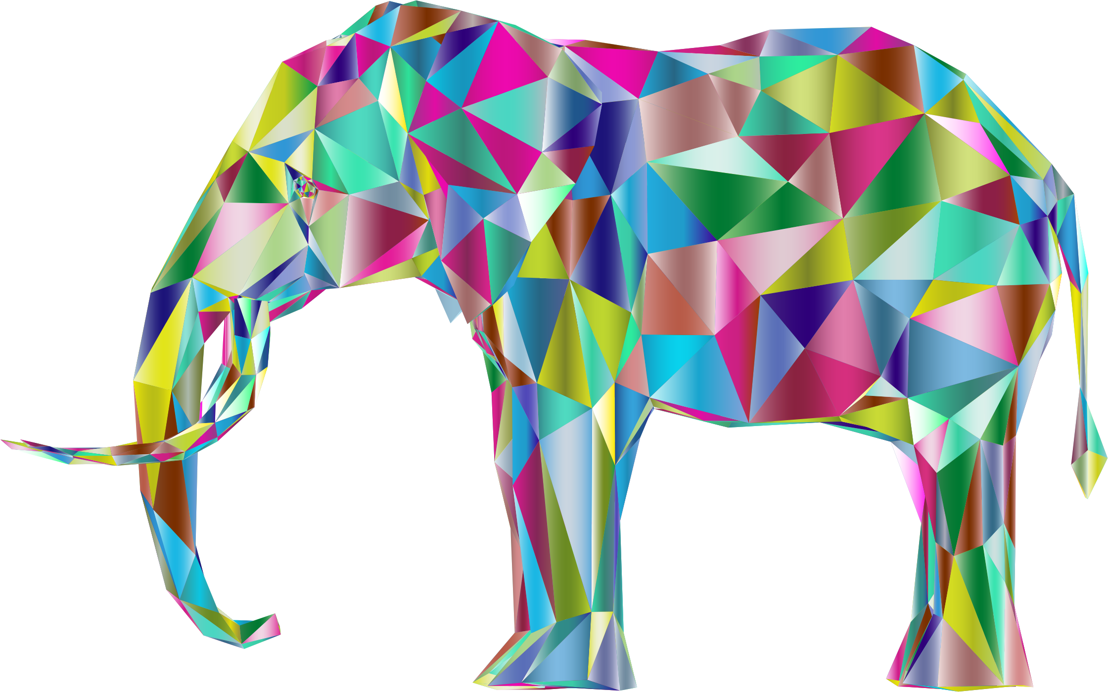 Prismatic low poly d. Clipart elephant rainbow