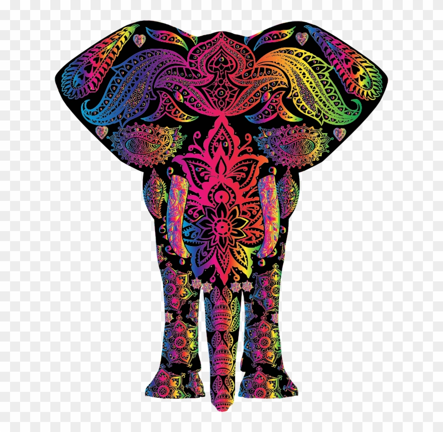 Clipart elephant rainbow. Colorful png download