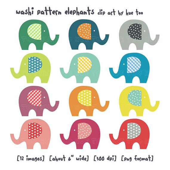 Clip art elephants washi. Clipart elephant rainbow