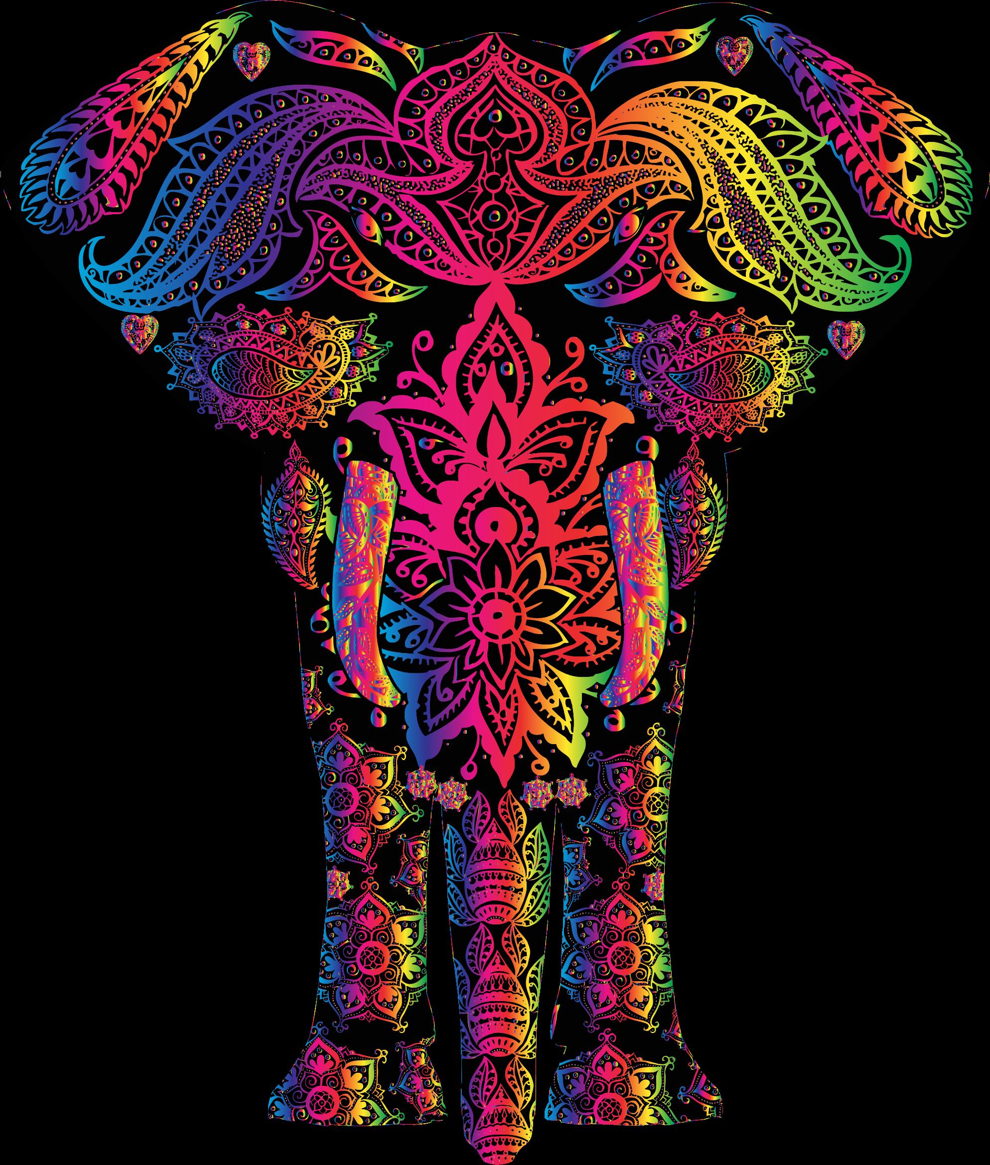 Clipart elephant rainbow. Floral pattern big image