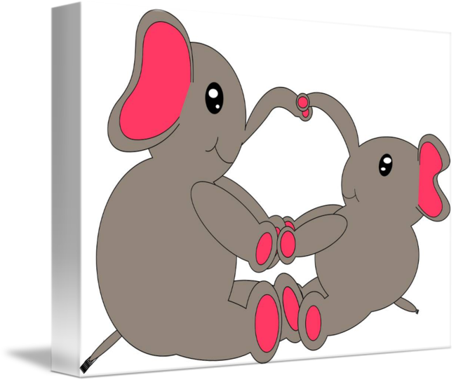 Clipart rat elephant. Momma and baby by