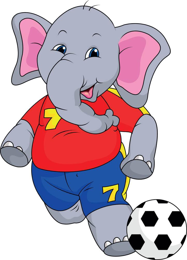 Clipart elephant soccer. Cartoon royalty free clip