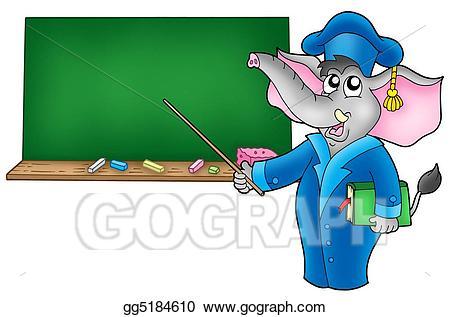 Stock illustration cartoon with. Clipart elephant teacher