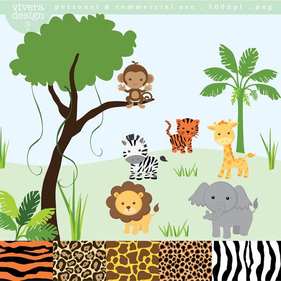 Safari animal clip art. Clipart zebra theme jungle