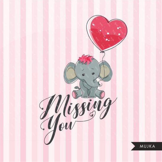 Valentine cute animals s. Clipart elephant valentines day