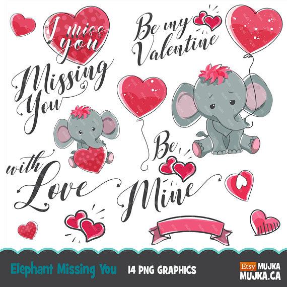 Clipart elephant valentines day. Valentine cute animals s