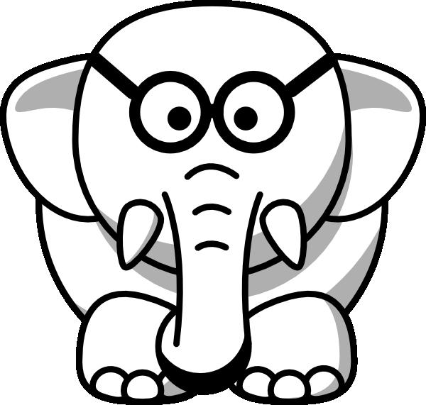 Elephant in glasses clip. Sunglasses clipart line art