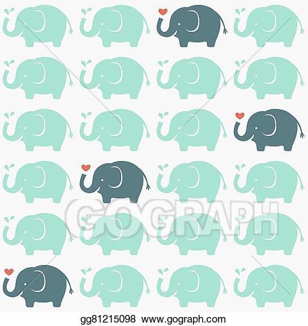 Vector illustration seamless elephants. Clipart elephant wallpaper