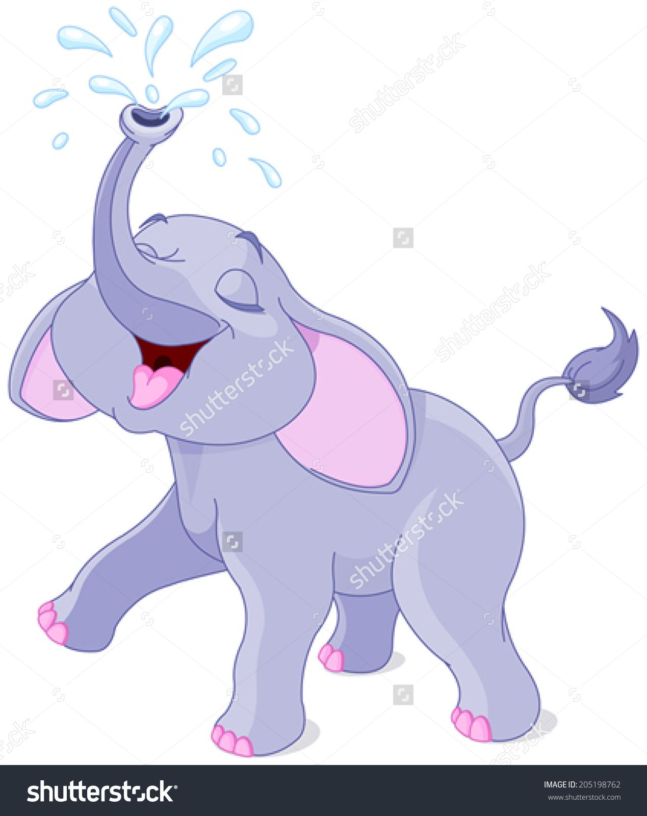 Elephants clipart water. Illustration of playing baby