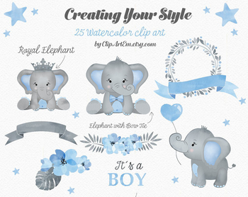 In blue and gray. Clipart elephant watercolor