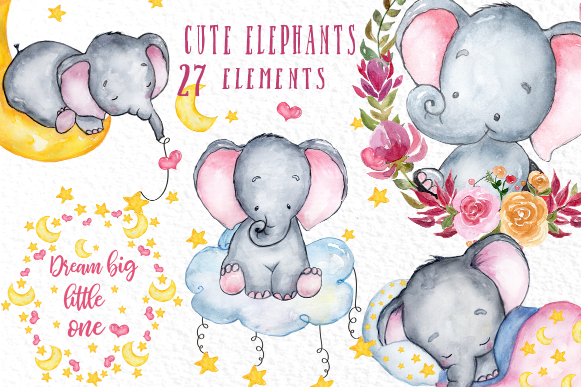 Clipart elephant watercolor. Cute animals baby shower