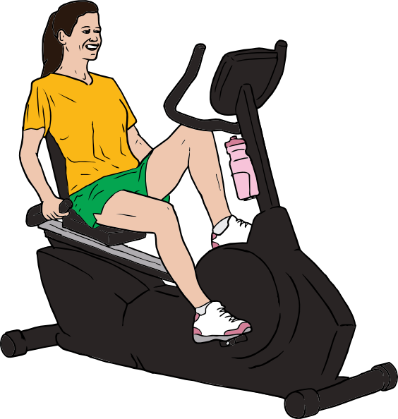 Woman on bike clip. Exercise clipart female exercise