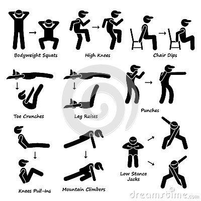 Exercising clipart body exercise. Workout fitness training set