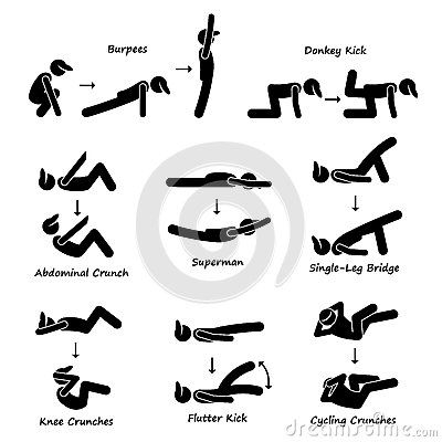 Workout fitness training set. Exercise clipart body exercise