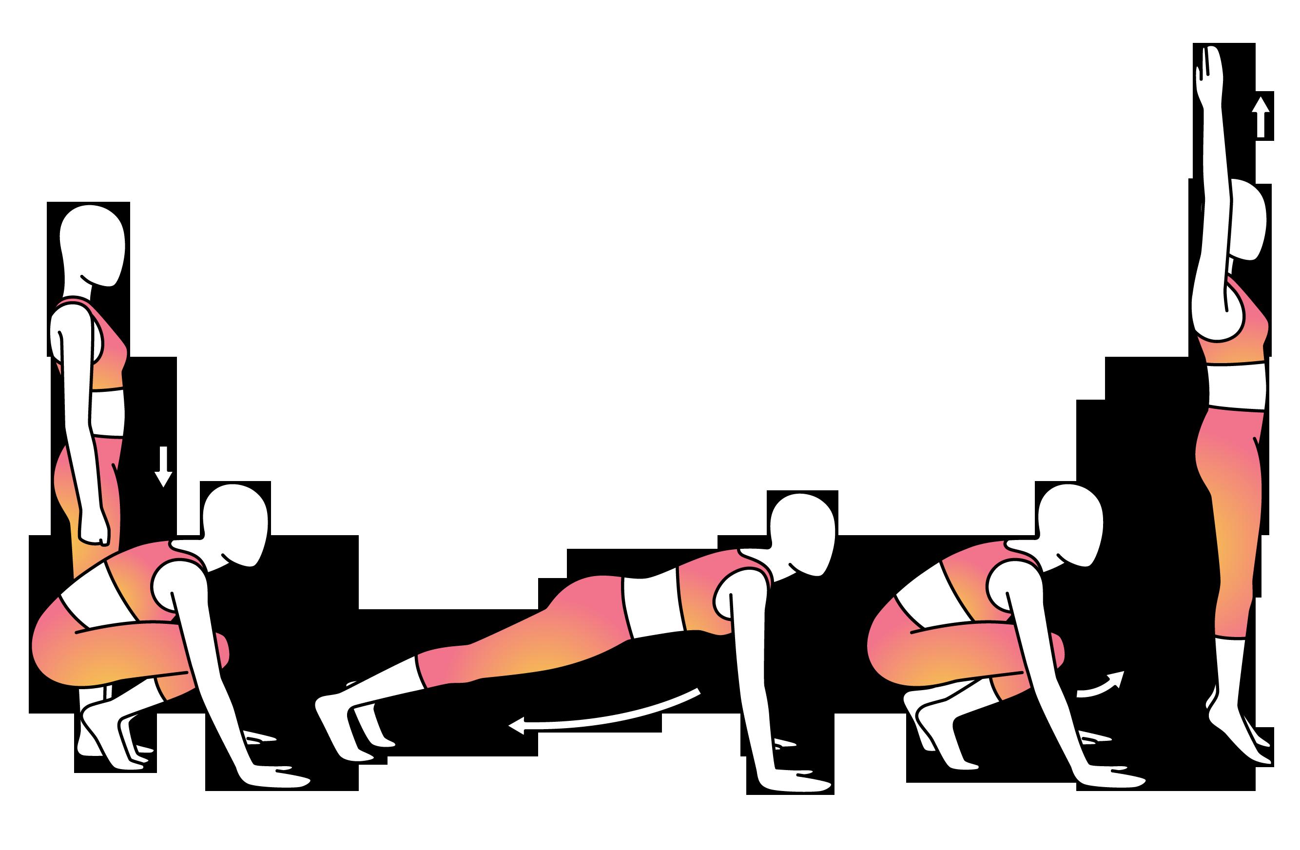 Exercising clipart push up. Physera burpee