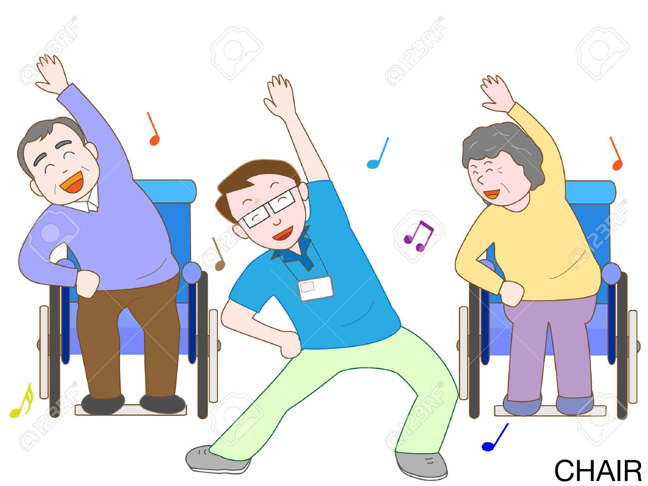 Exercises for seniors . Clipart exercise chair exercise