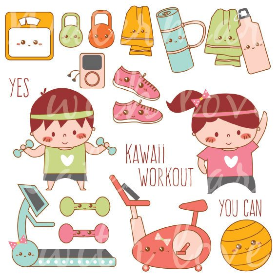 Kawaii workout exercise . Fitness clipart cute