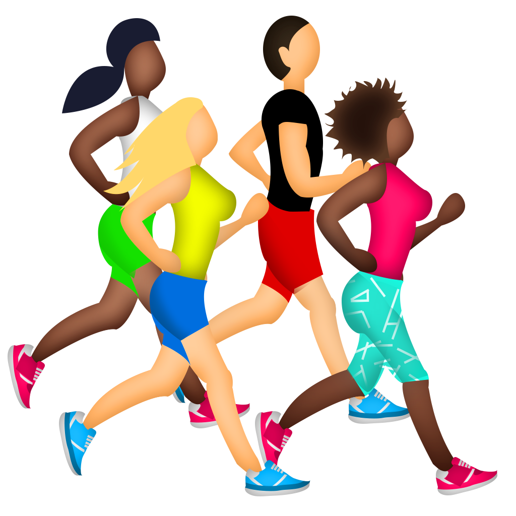 Marathon running afro runner. Emoji clipart exercise