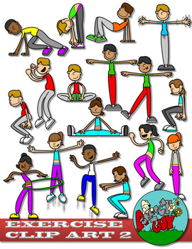 Workout clip art set. Exercise clipart exercise routine