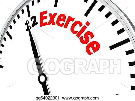 Exercise clipart exercise time. Stock illustration for