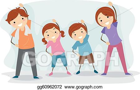 Families clipart exercise. Eps illustration family vector