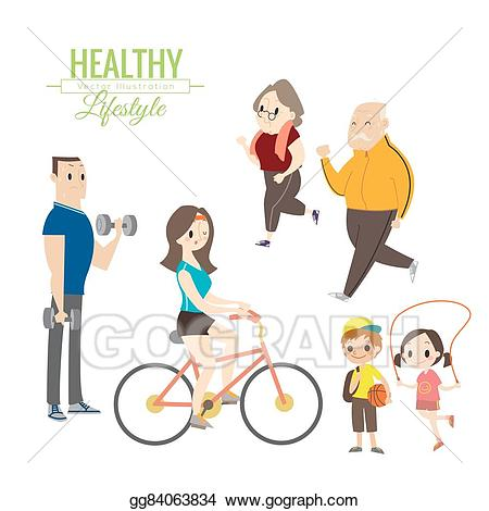 Exercise clipart healthy lifestyle. Vector art happy family