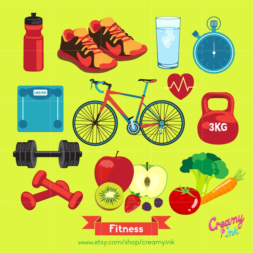 Digital clip art featuring. Dumbbells clipart health fitness