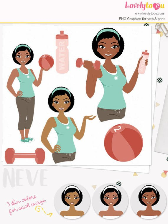 Fitness clipart african american. Pin on products