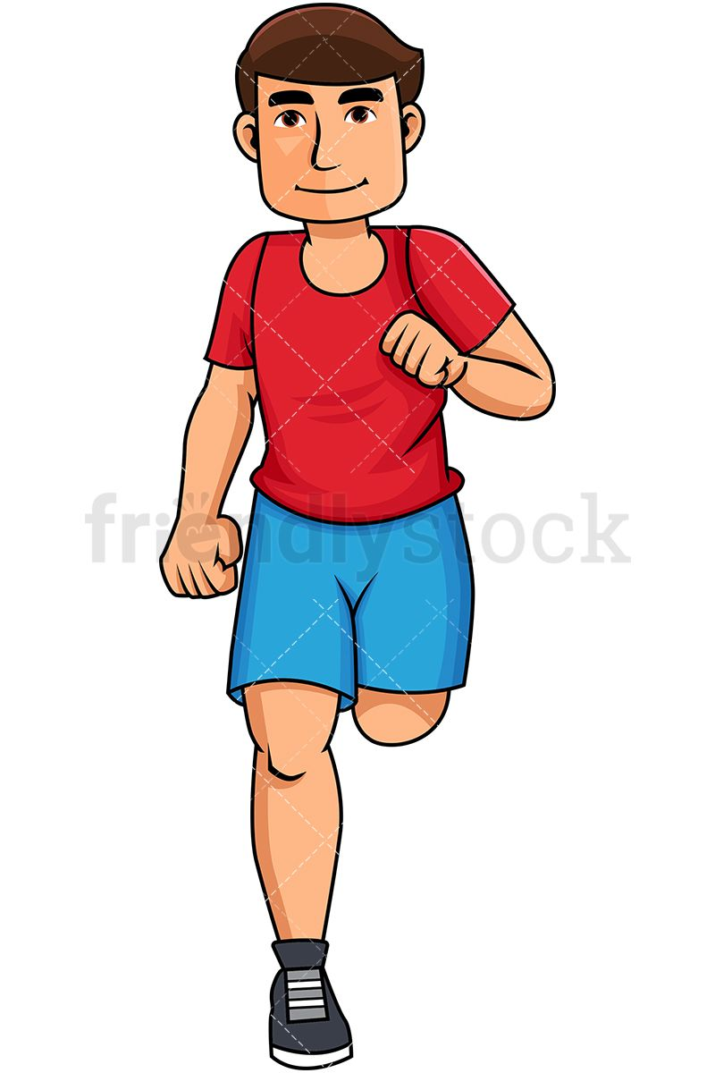 Exercising clipart active. Young man jogging for