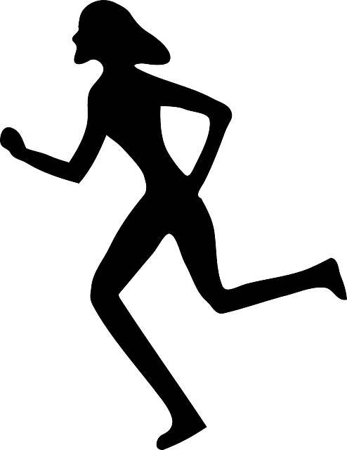 Exercise clipart run. Female running silhouette at