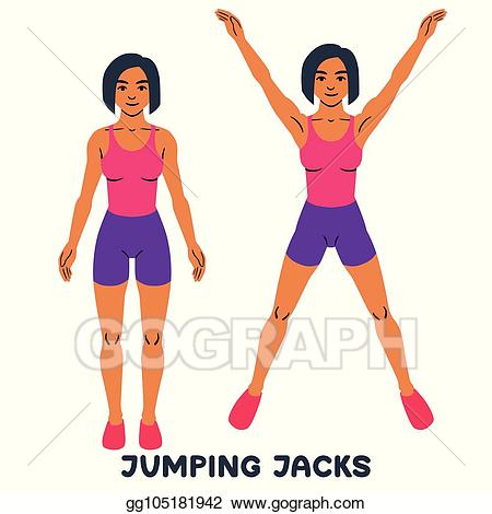 Vector illustration jack sport. Exercising clipart jumping jacks